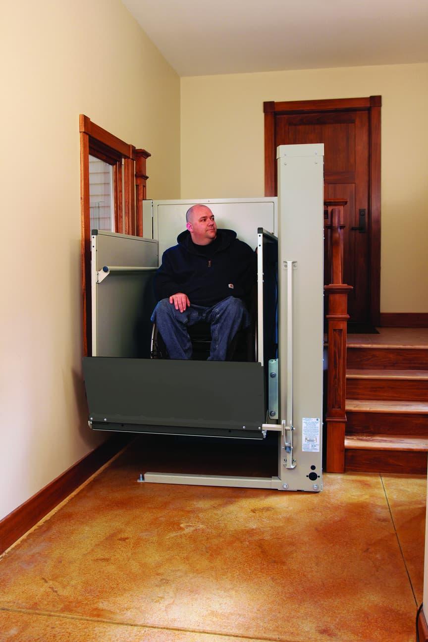 Man on a Porch Wheelchair Lift